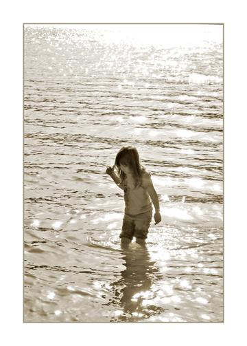 5 Year Old Walking inLake